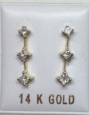 2/3 ctw  natural (REAL) DIAMOND 3 square stud earrings SOLID 14k yellow GOLD