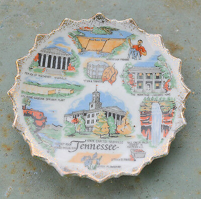 Tennessee Souvenir State Plate Collectible Vintage Jagged Edged Gold Trim #7209