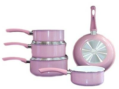 Family Sized Pink 5-Piece Pan Set,  (Full Sized Set Does not include lids).