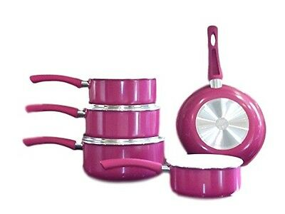 Family Sized Fuchsia 5-Piece Pan Set,  (Full Sized Set Does not include lids).