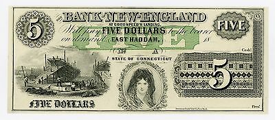 1800's $5 The Bank of New-England at Goodspeed's Landing - CONNECTICUT Note AU+