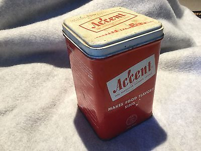 Vintage 1940's Large  ACCENT Spice Tin Chicago, ILL