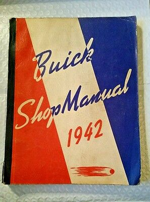 Original 1942 Buick Shop Manual w/ Foldout Lubrication & Pink Corrections Page