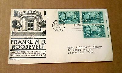 1945! Franklin D.Roosevelt! Hyde Park Cancelled! w/(3) 1 Cent Stamps! VG Cond!