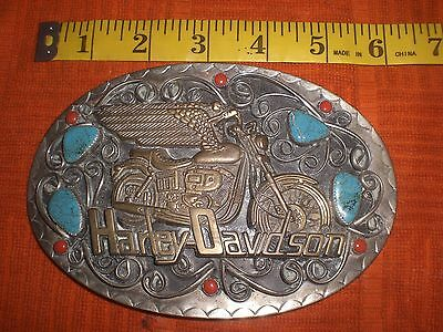 Vintage Harley Turquoise Baron Squaw Wrap German Silver Southwestern Buckle
