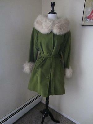 Vintage 1960's Green Russian Princess Coat Huge Shearling Fur Collar + Cuffs M