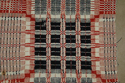 Antique Brick Red Blue Woven Coverlet Piece Primitive Crafting