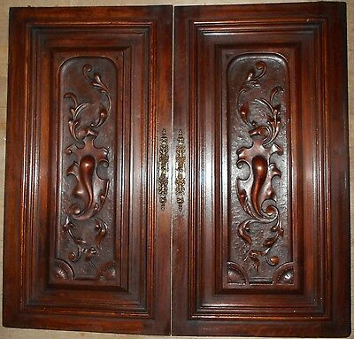 Pair of French Antique Hand Carved Panels in Gothic Walnut Salvage
