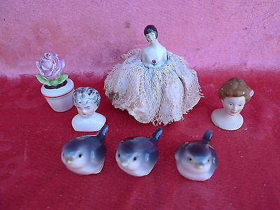 7 beautiful, antique Porcelain parts__ Porcelain figurines__