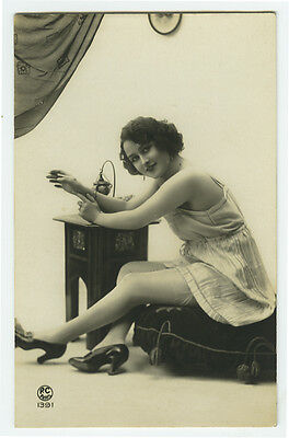 1920's Vintage Risque n nude Lingerie FLAPPER w/ PERFUME SPRAYER photo postcard