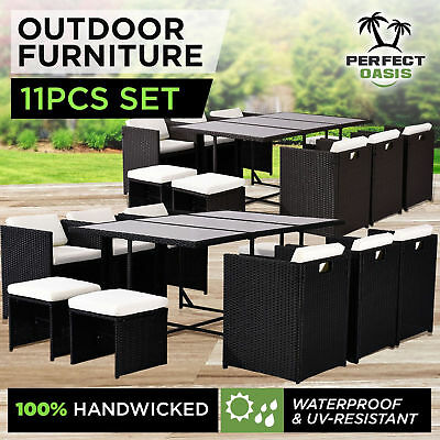 NEW 11pc PERFECT OASIS WICKER OUTDOOR DINING SET Rattan Sofa Lounge Chairs Table