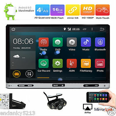 Android 6.0 OS 7'' HD Double 2 DIN Car DVD Stereo Radio GPS Wifi 3G OBD2+ Camera