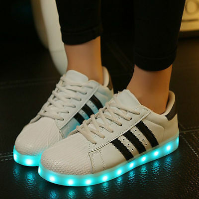 Unisex 7 LED Light USB Lace Up Sneakers Sportswear Striped Luminous Casual Shoes