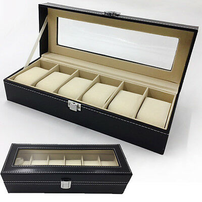 Leather Watch Jewelry Holder Case Box Organizer for Display Storage Gift 6 Grids