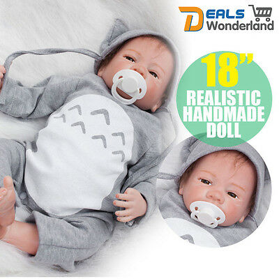 "18""Realistic Handmade Real Looking Newborn Baby Vinyl Silicone Reborn Doll"