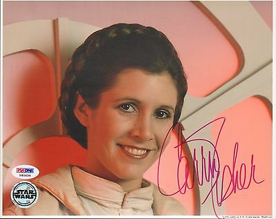 """CARRIE FISHER Signed STAR WARS """"Princess Leia"""" 8x10 Photo PSA/DNA #X80636"""