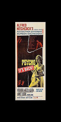"""Psycho   /  Paramount Pictures  /  Original 1965 """"re-Release"""" Insert Poster / Vf"""