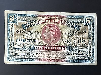 Cyprus 5 Shillings P29 King George VI Dated 1st February 1952 VF