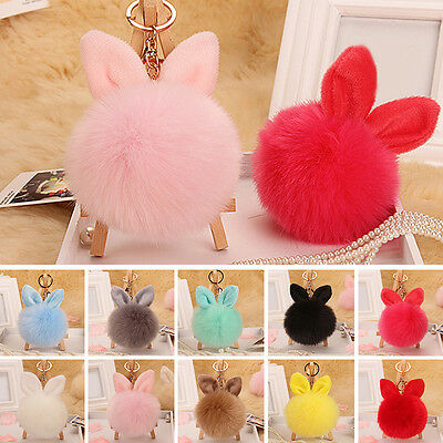 Cute Rabbit Ear Faux Fur Keychain Car HandBag Pendant Pompom Ball Charm Key Ring