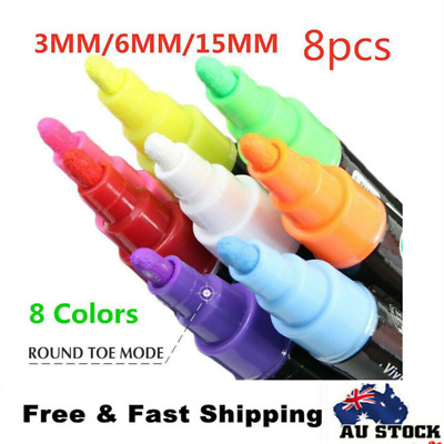 8pcs 3/6/15mm Liquid Chalk Marker Pens LED Writing Board Glass Art Pen Window AU