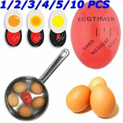 10PCS Egg Perfect Color Changing Timer Yummy  Boiled Eggs + Spring Wire Egg Cup