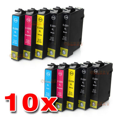 10x NON-OEM 220 XL Ink Cartridges for Epson  WF-2630 WF2650 WF-2660 Epson 220XL