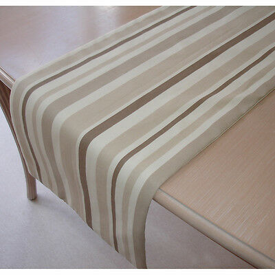 "Table Runner 120cm 4ft Beige Brown Taupe Ivory Cream Stripes 48"" Neutrals Stripe"