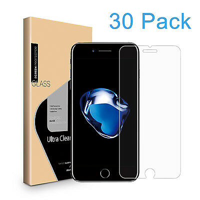 30 Pack Premium Tempered Glass Screen Protector HD Film Saver for iPhone 7 Plus