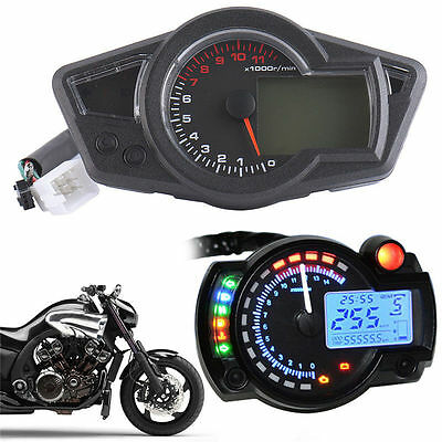 Motorcycle 12V LCD Digital Light Speedometer Tachometer Odometer Black 12000RPM