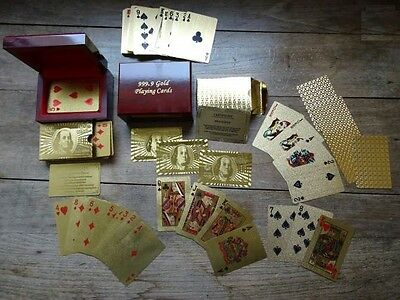 JEU DE 54 CARTES POKER en OR 24 Carat 24 k Collection + certificat SUPERBE