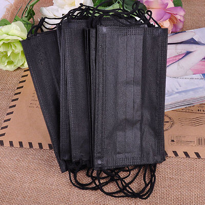 20x Black Non-woven Disposable Medical Dust Mouth Surgical Face Mask Respirator