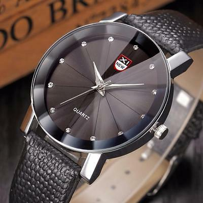 Luxury Men's Crystal Stainless Steel Leather Watch Analog Quartz Wrist Watches