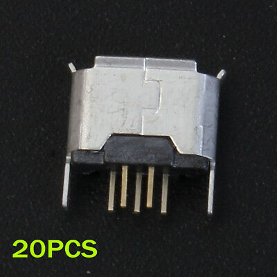 20pcs Micro USB Female Socket 180 Degree DIP 5P For Connector Parts