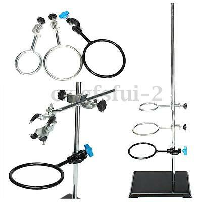 1Pc 600mm Lab Stands Support + 9Pcs Lab Flask Clamp Condenser Stand Cilp Set UK