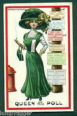 SUFFRAGETTE SERIES NO 9,QUEEN OF THE POLL,vintage postcard