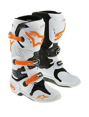 Alpinestars Tech 10 White-Orange Off Road Boots Free Express Eu Delivery