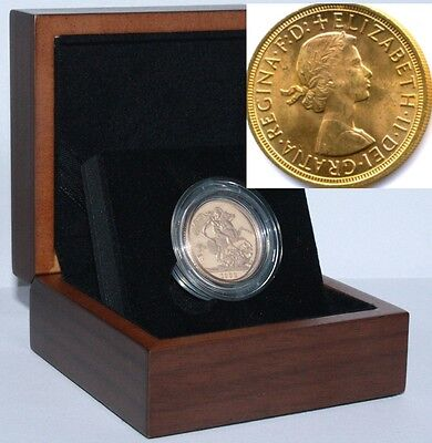1963 Queen Elizabeth II Gold Sovereign + Capsulated within Luxury Case