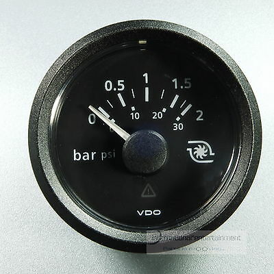 VDO VIEWLINE MANOMETER  LADEDRUCK  PRESSURE GAUGE 2bar 30psi 12V  schwarz