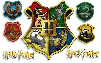 Precut Edible Harry Potter Hogwarts Crests Large Or Small Icing Cake Topper