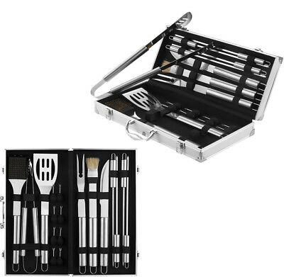 18 Pc Stainless Steel Barbeque Utensil Set Cutlery Cooking Outdoor Bbq