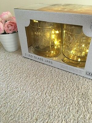 Glass slogan jars with led lights set of 2 Shabby Chic Mason Style Tea Lights