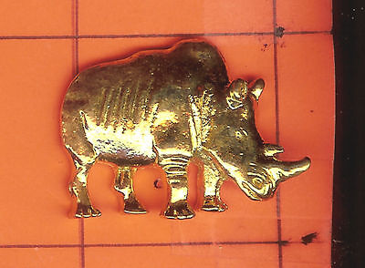 Rhinoceros    Pin    3 Dimensional  Highly Detailed  Gold Finish