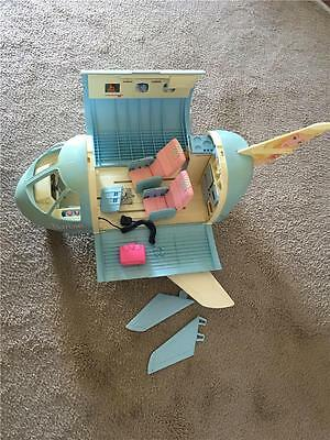 1989 Vintage Matell Barbie Doll Blue AirPlane Jet Plane With Accessories Toy Set