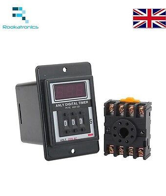 Digital Time Timer Relay ASY-3D 12V 24V 36V 220V 1-999 Minutes/Seconds + Base