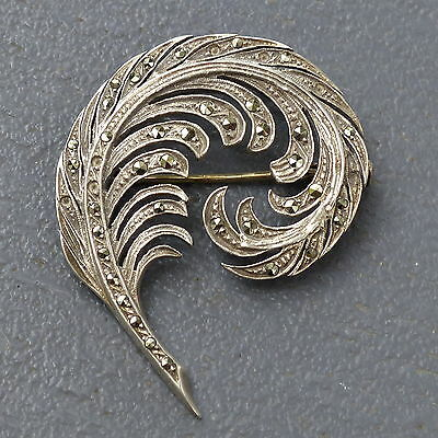 Broche argent massif ancienne marcassites plume