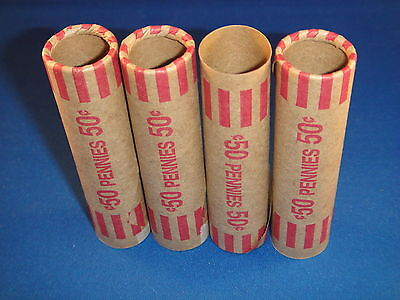 50 Preformed Coin Wrapper Tubes For Penny Pennies!!!