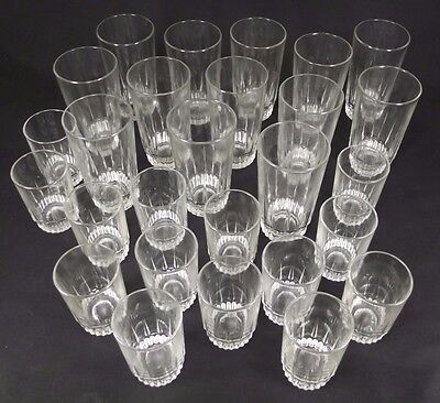 27 PIECE! Vintage ARCOROC France Juice Glasses LANCER Pattern Clear Glass Marked