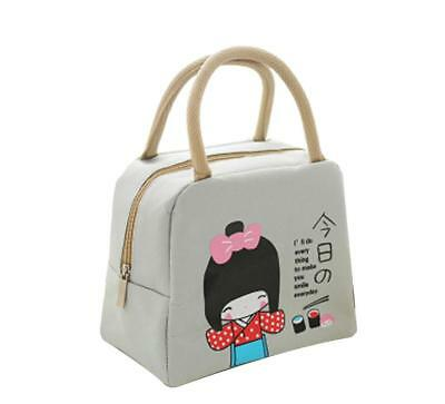 Insulated Thermal Food Lunch Box Bento Case Picnic Cooler Handbag Beige