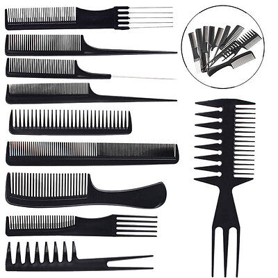 10 Piece Hair Styling Comb Set Professional Black Hairdressing Brush Barbers 9o