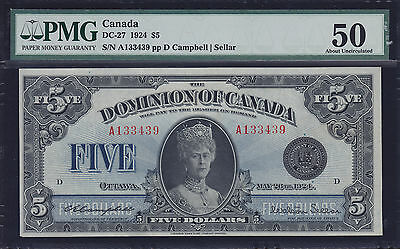 1924 Dominion of Canada $5 Queen Mary PCGS AU-50 - Superb Investment Piece